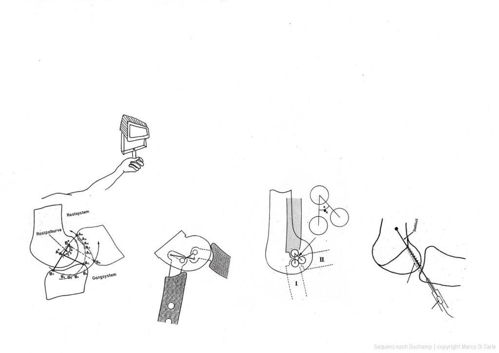 Marco Di Carlo - Mixed Media Drawing - Sequenz nach Duchamp - Photo copyright © Marco Di Carlo